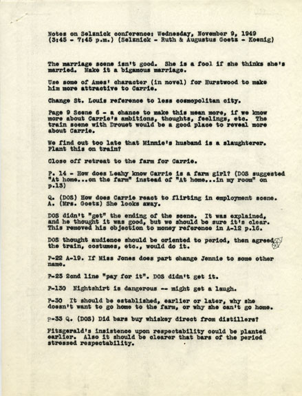 Notes from a meeting between Carrie screenwriters Ruth and Augustus Goetz and David O. Selznick (DOS)