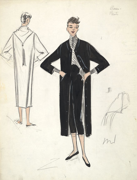 A sketch for one of Hepburn's costumes in Roman Holiday.