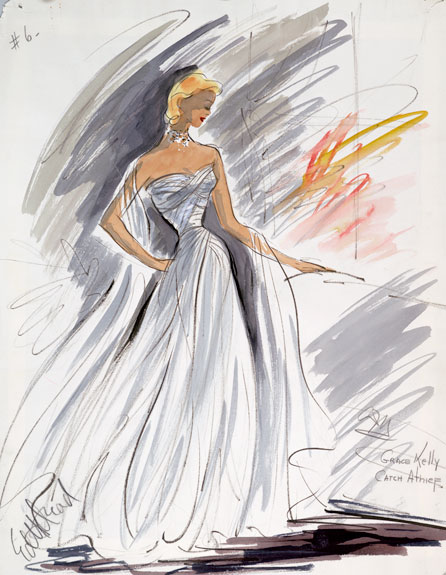 Signed sketch of gown worn by Grace Kelly in To Catch a Thief.
