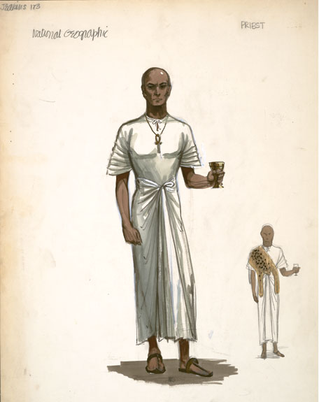 Sketch of priest costume for The Ten Commandments film.