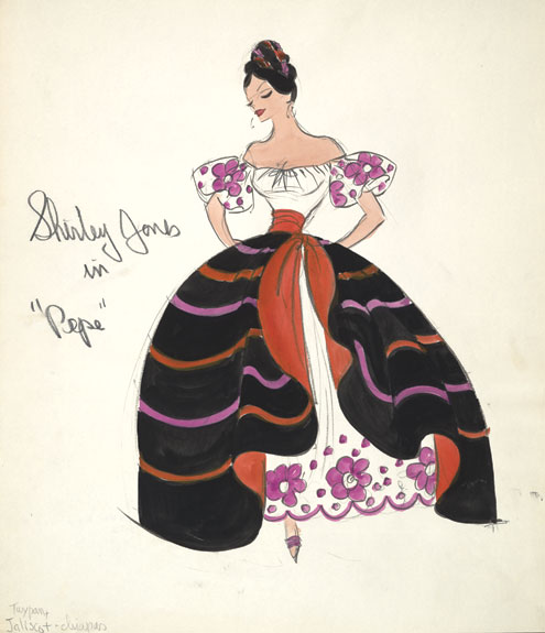A costume sketch for Shirley Jones in the film Pepe.
