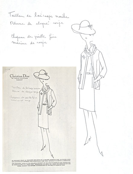 Costume sketch created in collaboration with Dior, for the film A New Kind of Love.