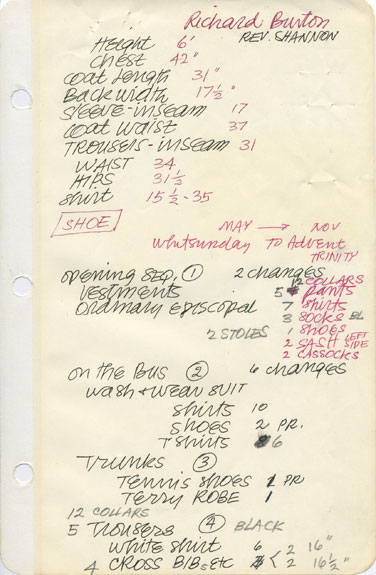 Jeakins's costume notes for the film The Night of the Iguana.