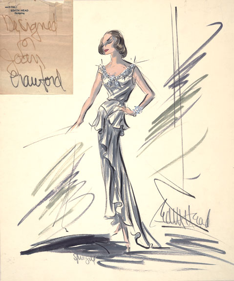 Gown design for Joan Crawford for 1965 Academy Awards.