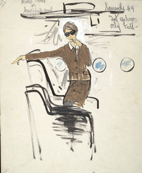 A sketch for Woodward's costume during a scene at Orly airport, for the film A New Kind of Love