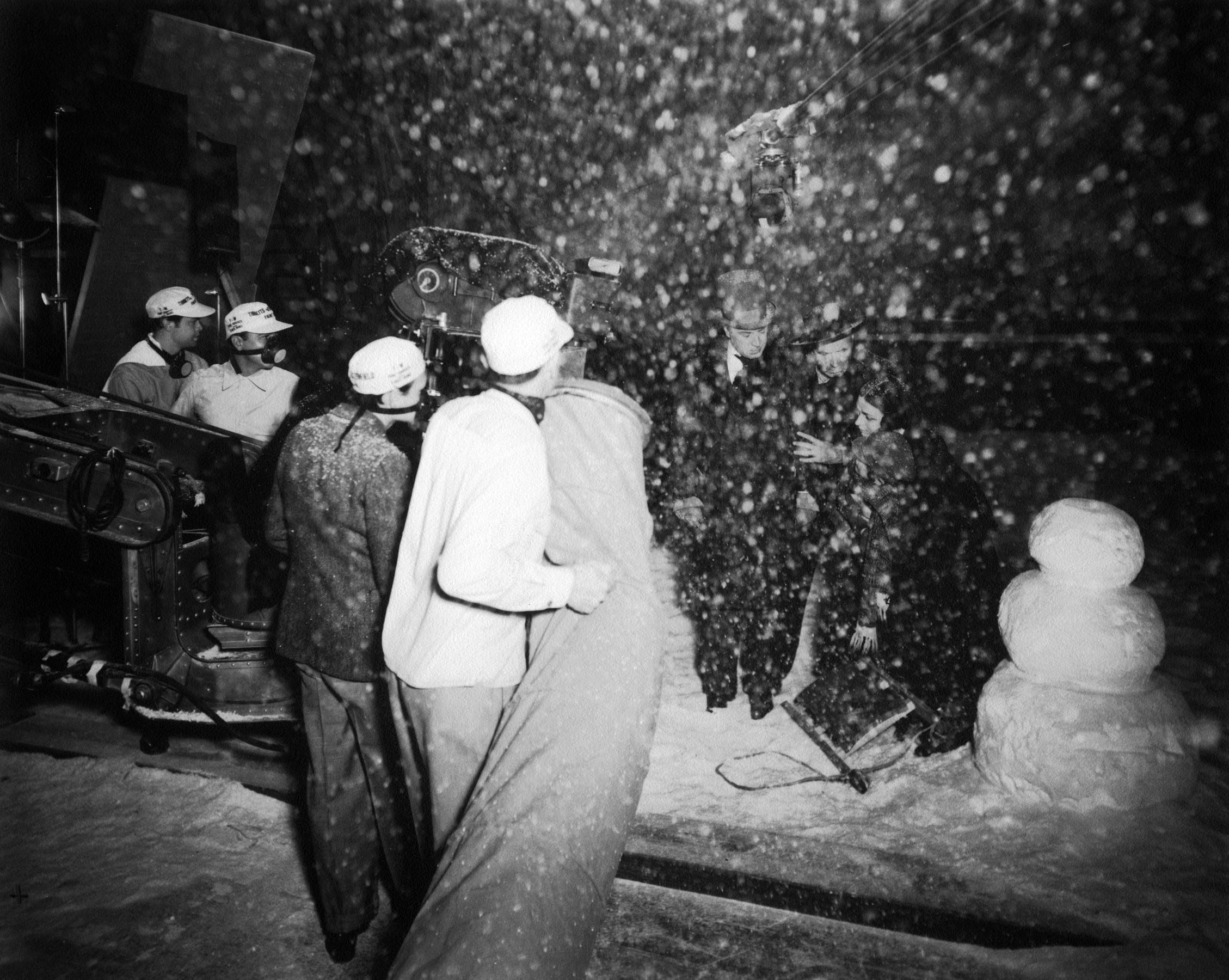 The crew wearing ventilator masks during the shooting of a snow scene.