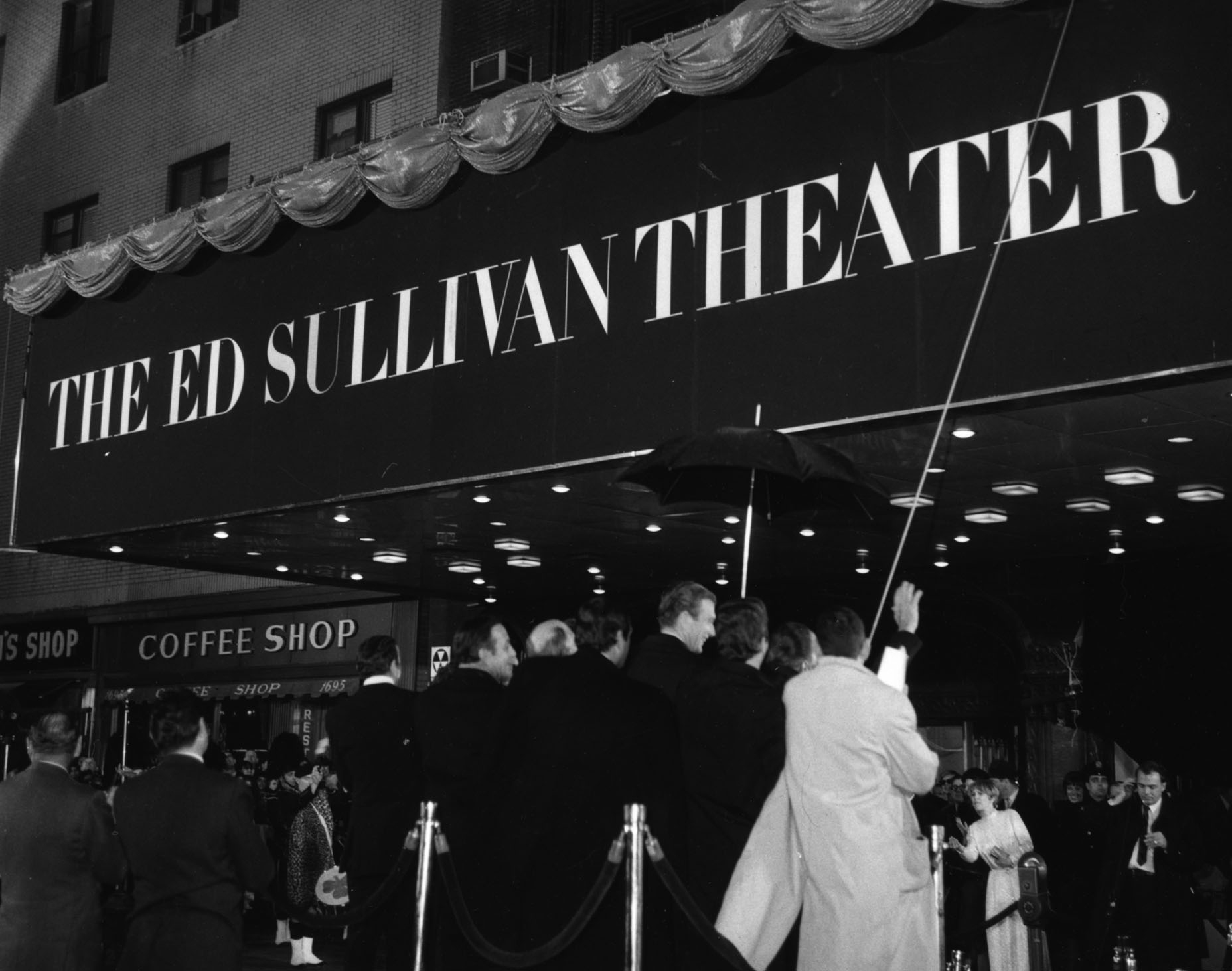 Crowds outside the Ed Sullivan Theater on West 53rd St.