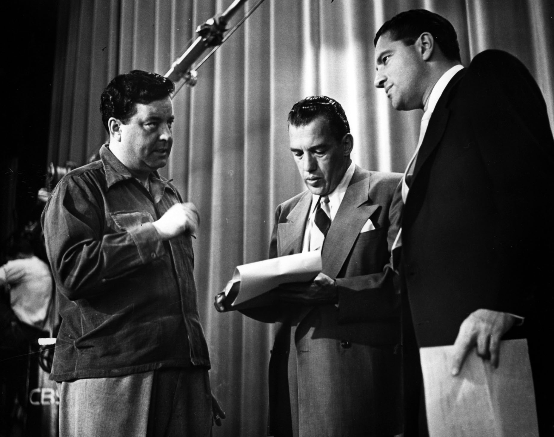 Production still featuring Jackie Gleason and Ed Sullivan