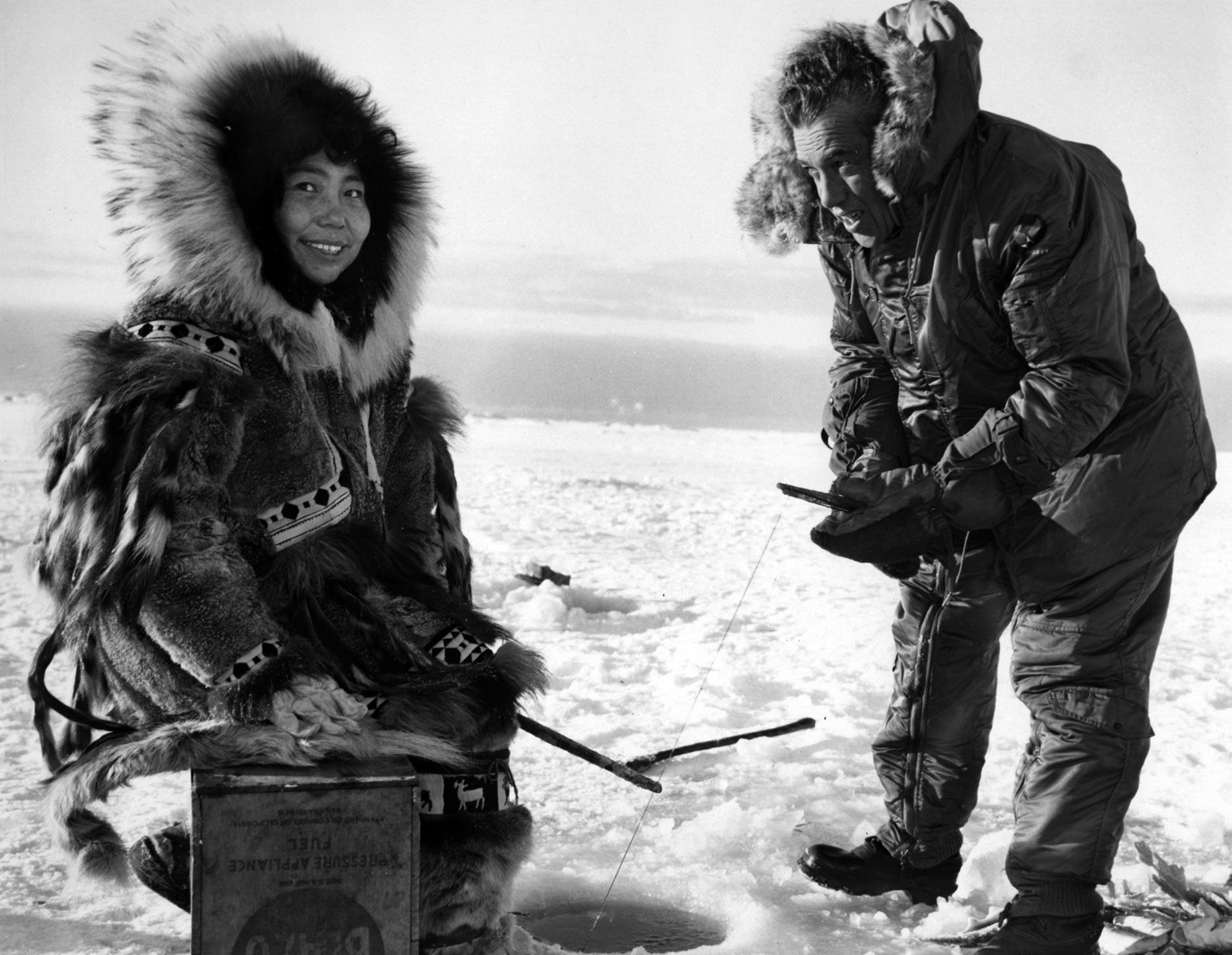 "An Inuit poses with Sullivan in a production still for the ""Alaska Episode"""