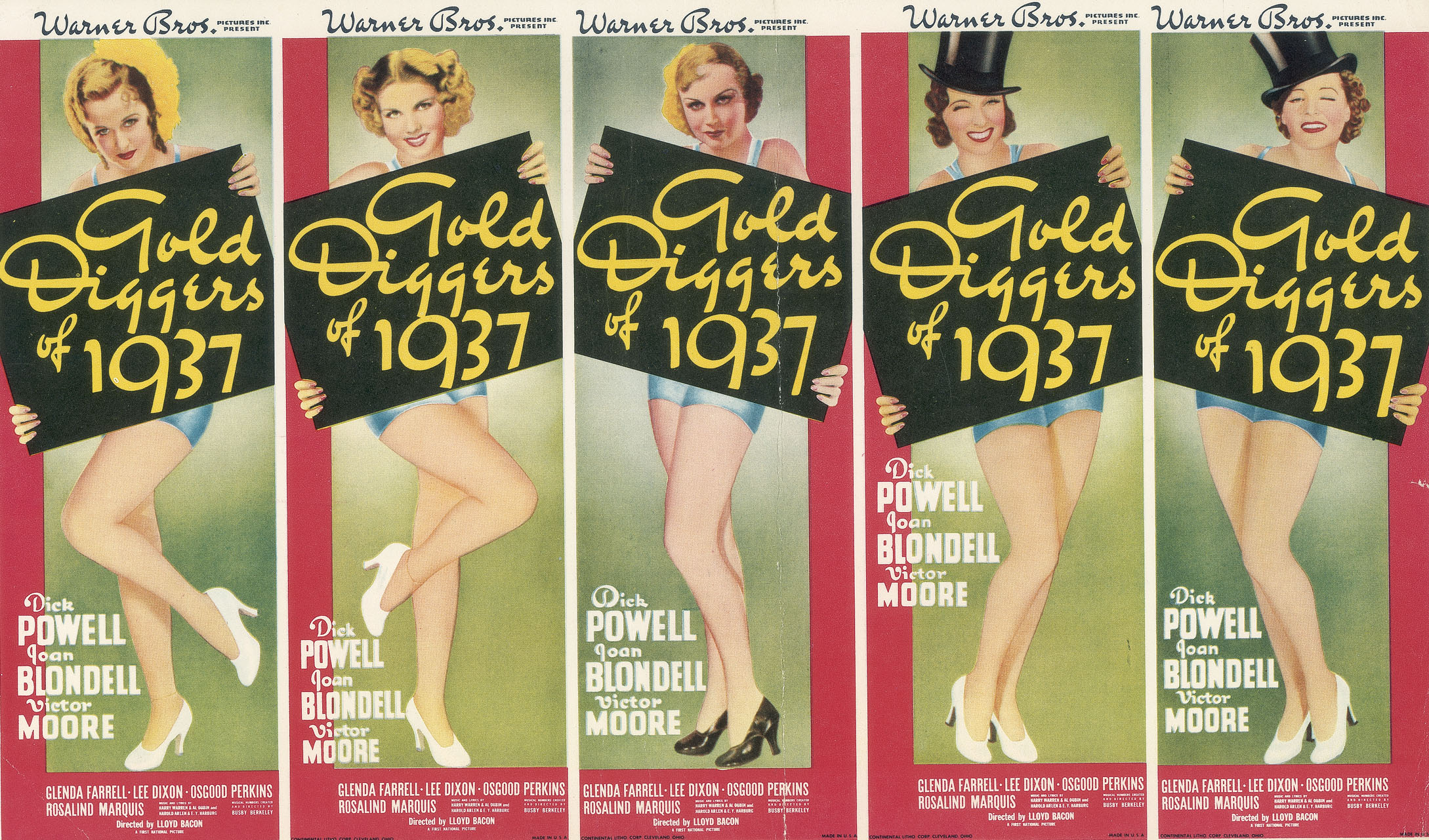 Full Color Insert from Gold Diggers of 1937 press book.