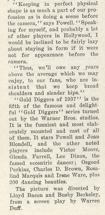 Excerpt from Page 30 of Gold Diggers of 1937 press book.