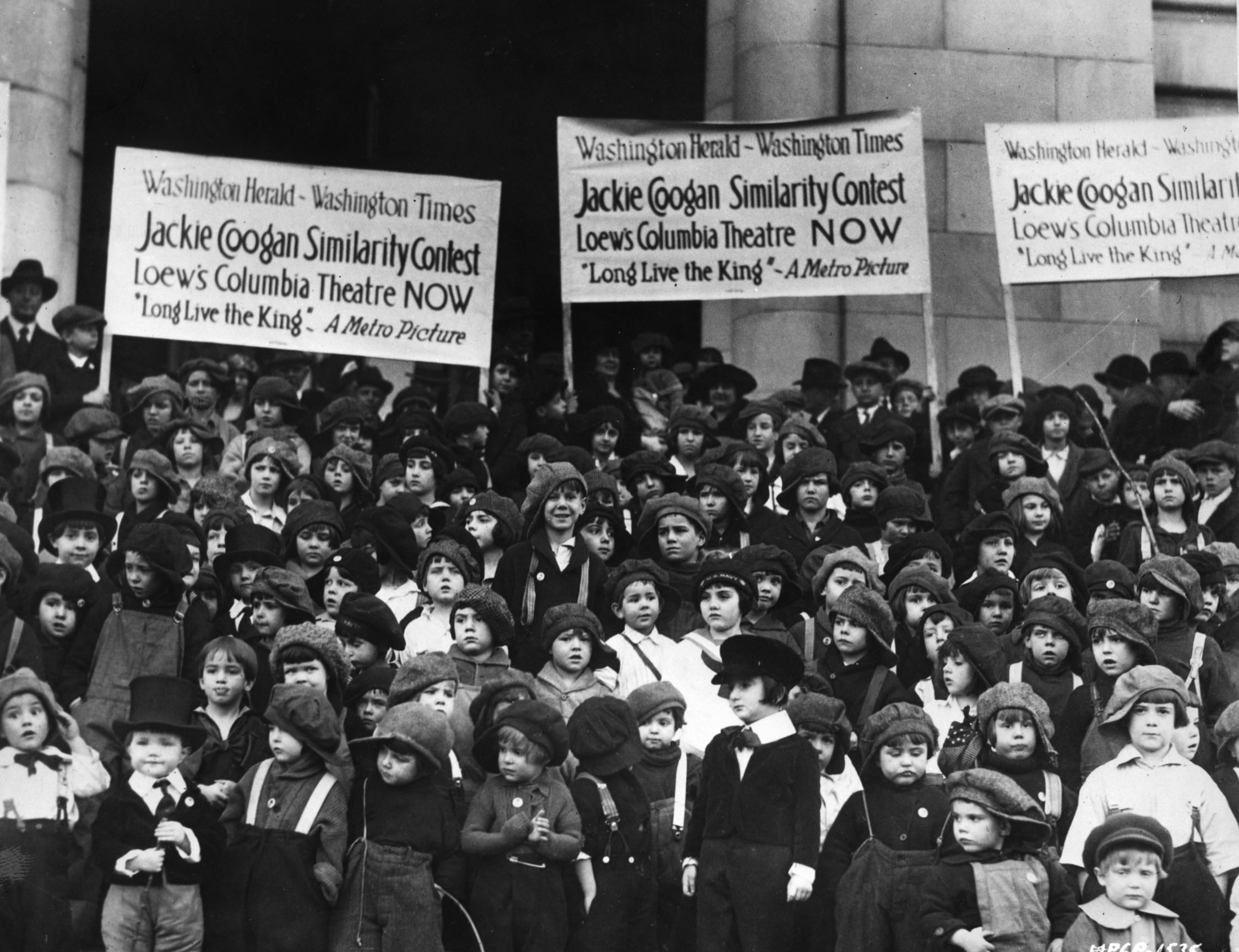 Boys compete in a Jackie Coogan (of The Kid fame) similarity contest, staged to promote Coogan's 1923 film, Long Live the King.
