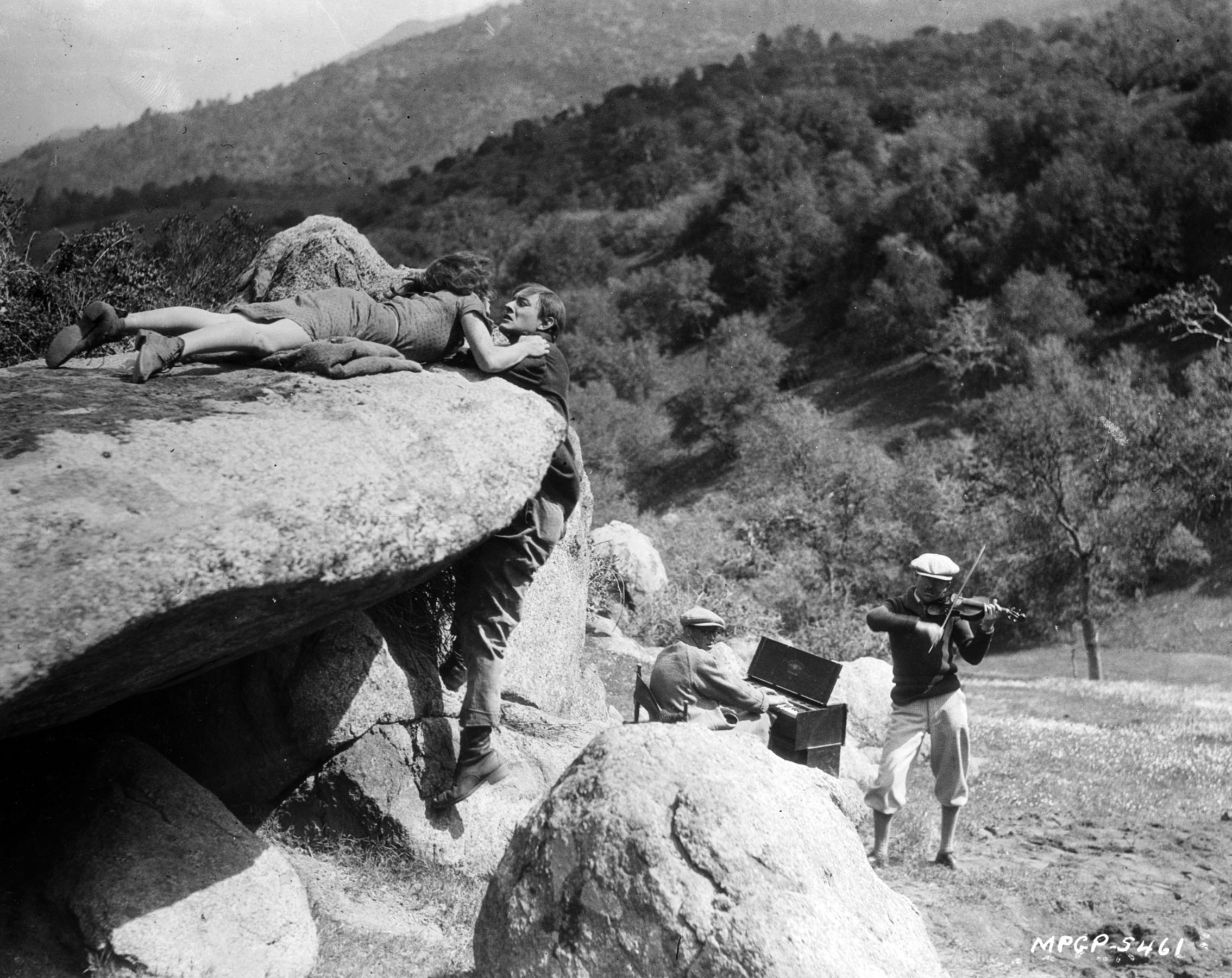 A production still for 1925's Sun Up captures the on-set musical accompaniment typical of silent productions.