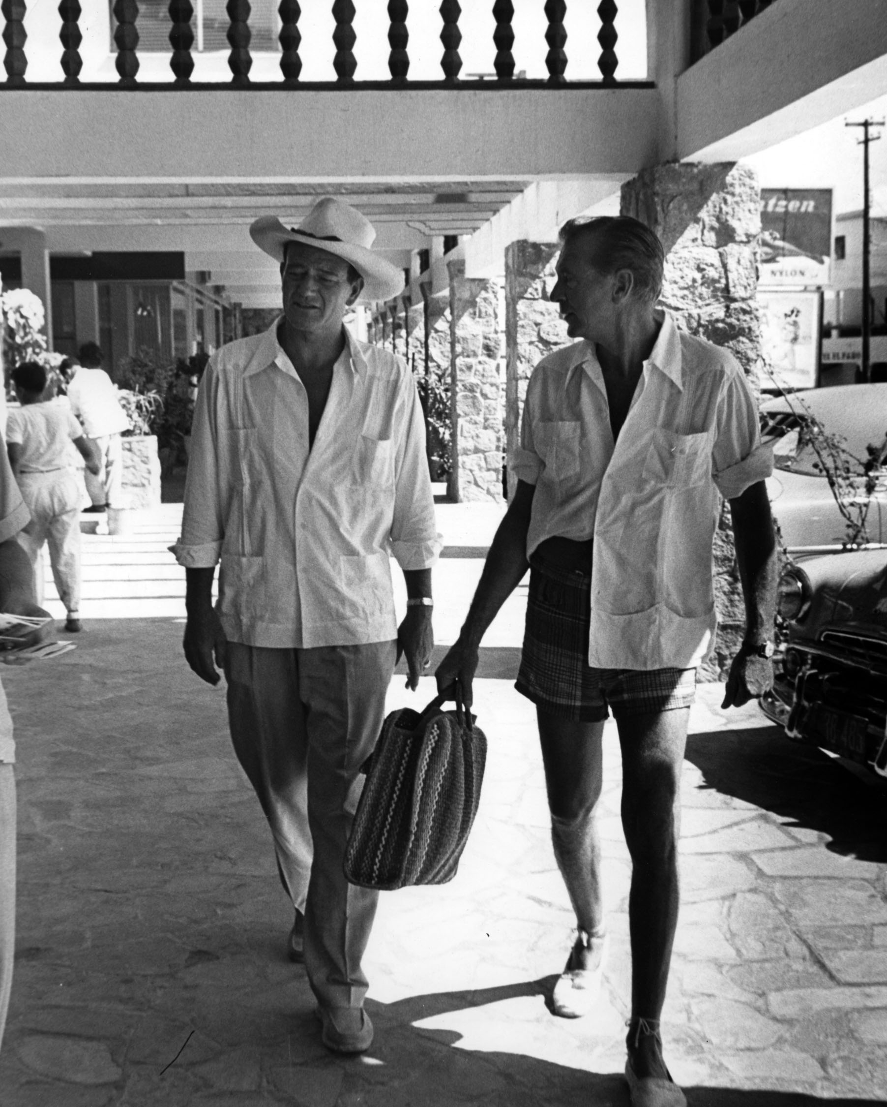 John Wayne and Gary Cooper in Acapulco, 1953.