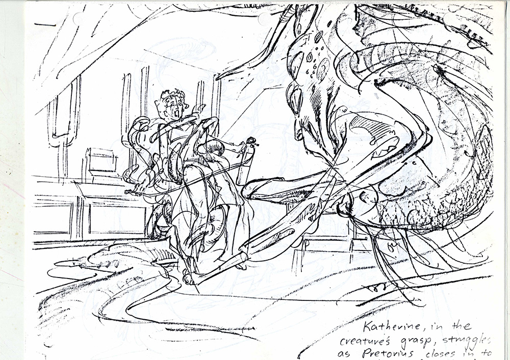 An early drawing of the creature Praetorius attacking Katherine in a climactic scene in From Beyond.