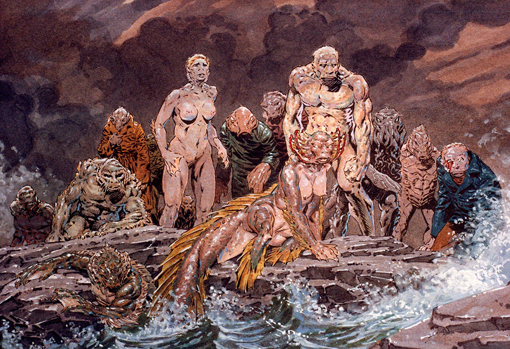 An impressive painting by an unknown artist in the visualization stage of preparing Dagon.