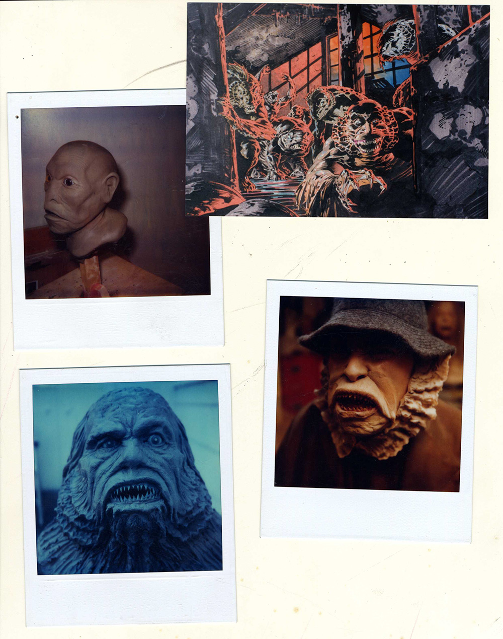 A number of Polaroids documenting makeup effects used in Dagon.