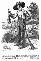 Drawing of Huckleberry Finn holding a rabbit and a rifle.