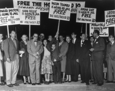 Trumbo and other members of the Hollywood Ten protesting the Hollywood Un-American Activities Committee.