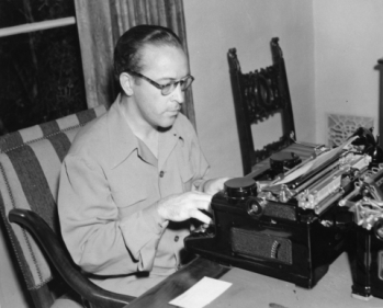 Dalton Trumbo at the typewriter, circa 1940