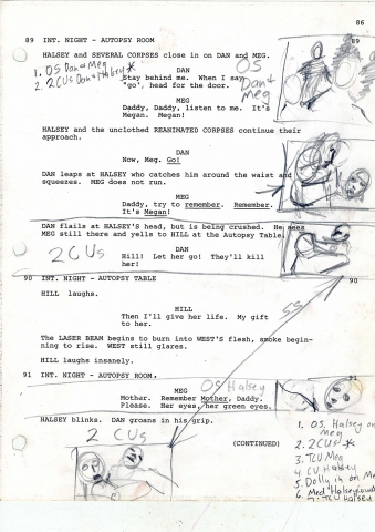 A page from the script of Re-Animator, with handwritten notes and storyboards by Gordon.